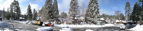 Panoramic photograph of Idyllwild Village from Village Center.                                 Photo by Bruce Watts