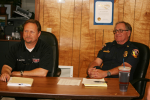 Bruce Barton (left), director of Riverside County Emergency Medical Services agency, and Riverside County Fire Chief John Hawkins.
