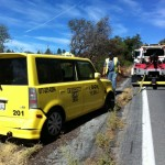Taxi goes over highway's edge