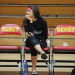 Idyllwild's Savanah Loutzenhiser has to sit and watch with a brace on her knee