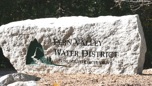 New Fern Valley Water District sign.  Photo by Marshall Smith