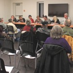 The Art Alliance of Idyllwild held its first planning meeting of 2013 Friday evening at the new library's Community Room. The new board was introduced, and plans for the new year were discussed. From the left, Phyllis Mueller (member-at-large), Kirsten Ingbretsen (publicity and marketing), Reba Coulter (treasurer), Patti Cooper (membership chair), Gary Kuscher (president), Lea Deesing (outgoing president), Scott Fisher (vice-president and hospitality), Lissa Claussen (past secretary) and Halie Johnson (secretary). Other board members not present are Bryan Tallent (gallery and inn liaison) and Pat Hughes and Mike Ahern (members-at-large). Photo by Barbara Reese