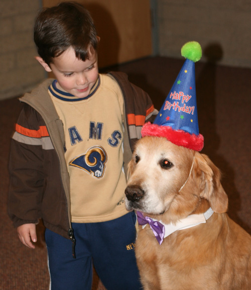 A young constituent greets Max on his birthday. Photo by Marshall Smith