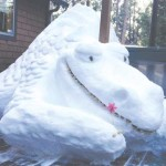 Snow dragon rests on local deck