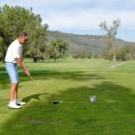 Bruce Marley teeing off on the fifth hole of the Creeks links at the Temecula Creek Inn Golf Course.  Photo by Les Widerynski