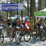 Mountain bikers begin pedaling at the start of Saturday's Idyllwild Spring Challenge. Photo by Jenny Kirchner