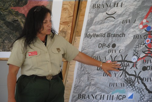 Incident Commander Jeanne Pincha-Tulley briefing Rep. Raul Ruiz Saturday afternoon. Phoos by J.P. Crumrine