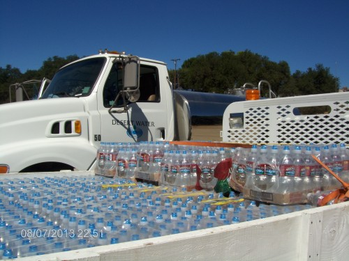 Pine Cove Water District distributed 60 cases of water to Silent Valley and Twin Pines residents. The Desert Water truck also brought potable water for locals without electricity.