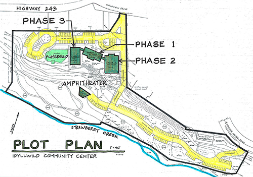The plot plan, which was shared during the evening, depicts the three stages of construction. Phase 1 may begin in the next 12 to 18 months, Lyle said. Photo by J.P. Crumrine