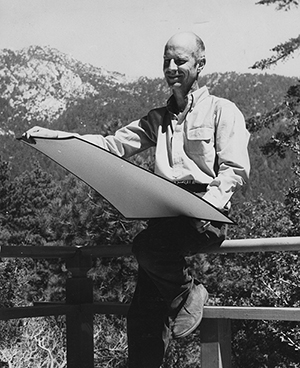 Bob Balzer with plans for his Tirol restaurant in Pine Cove in 1962. File Photo