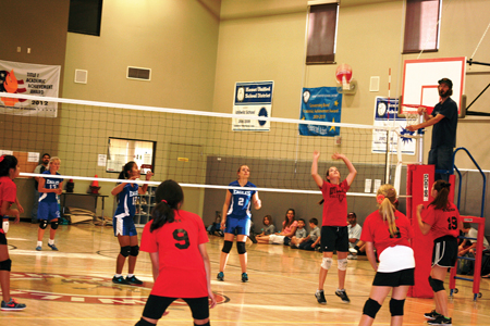 Idyllwild Middle School's Varsity and Junior Varsity Girls Volleyball took on St. Hyacinth from San Jacinto. Varsity girls lost two close games (25-20 and 25-18). Junior Varsity won all three games (25-19, 15-9 and 15-5). Photo by Jay Pentrack