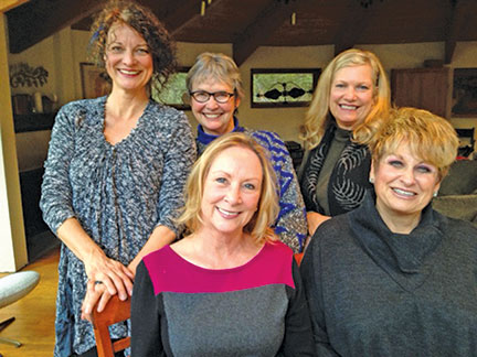 """Some of the seven-person cast for Isis Theatre Company's Dec. 7 production of """"'Twas the Night … A Celebration of Christmas Stories and Music"""" are (front, from left) Suzanne Avalon and Barbara Rayliss, and (back, from left) Susan Hegarty, Michele Marsh and Jeri Greene. (Not pictured, Danny Mitchell, Howard Shangraw and Joe Spano.)"""