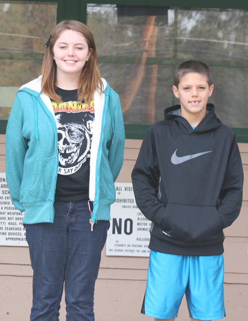 Idyllwild School Instructional Aide Megan Gaudreault named eighth-grader Leela Kintz Roozen (left) and sixth-grader Jake Mabery as Students of the Week for always being polite, friendly, and respectful. Photo by Jay Pentrack