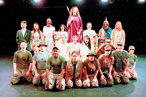 """The Theatre Department cast of """"Ajax in Iraq"""" will be performing at 7:30 p.m. Friday, Dec. 13, at 2 p.m. and 7:30 p.m. Saturday, Dec. 14, and at 2 p.m. Sunday, Dec. 15, at Rush Hall on the Idyllwild Arts Academy campus. The thought-provoking play follows the parallel narratives of Ajax, an ancient Greek military hero, and A.J., a modern female American soldier, both undone by the betrayal of a commanding officer.     Photo by Jenny Kirchner"""