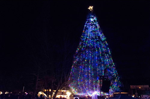 """Idyllwild locals and visitors flocked to the 53rd-annual Tree Lighting Ceremony, """"An Olde-fashioned Christmas,"""" on Saturday. Soroptimist International of Idyllwild sponsored the event. The ceremony is the culmination of a full day of activities in downtown Idyllwild. The tree had 4,000 lights, the most ever used on the tree display. Photo by John Pacheco"""