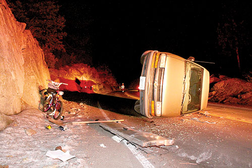 According to California Highway Patrol Officer Chris Blondon, a 1998 Gold S10 Chevy pickup truck crashed while traveling south on Highway 243 near Dead Man's Curve in Pine Cove at about 4 a.m. Christmas, Dec. 25. When emergency crews arrived on scene, no one was in or around the truck, although it is registered to Shawn Gooch, 35, of Idyllwild. The truck was towed to Idyllwild Garage and the cause of the crash is still under investigation.    Photo by Jenny Kirchner