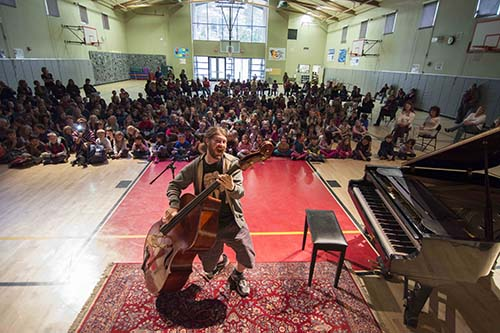 Idyllwild's own American Idol (season 10 contestant) Casey Abrams entertains students at Idyllwild School on Monday, Dec. 16. As a child, Abrams attended Idyllwild School and later studied at the Idyllwild Arts Academy. Abrams' family moved to Idyllwild when he was 10 years old.    	                Photo by John Pacheco