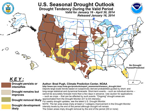 The National Weather Service forecasts a persistent drought for most of the West, including the Hill, at least through the end of April. Courtesy National Oceanic and Atmospheric Administration