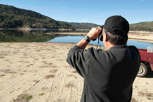 Max (pictured) and Julie Perdue of Riverside took part in the monthly eagle count at Lake Hemet on Saturday. Two bald eagles were spotted on the far west side of the lake.  Photo by John Pacheco