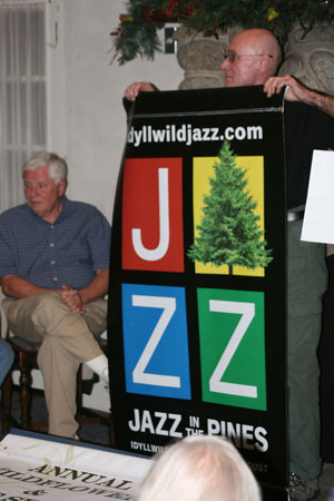 This Jazz in the Pines banner is one of the 19 organization banners the Art Alliance of Idyllwild unveiled at the Creekstone Inn on Wednesday, Feb. 12. The banner hanging is anticipated for the last week of February or first week of March.  Photo by Jay Pentrack