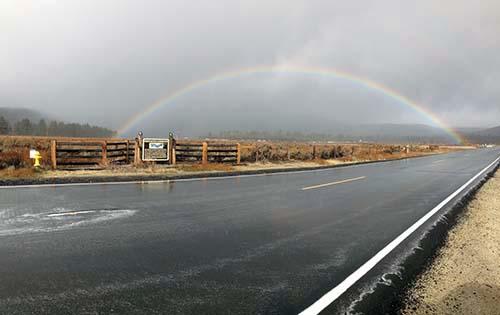 A rainbow over Garner Valley Thursday morning. Photo by Halie Johnson