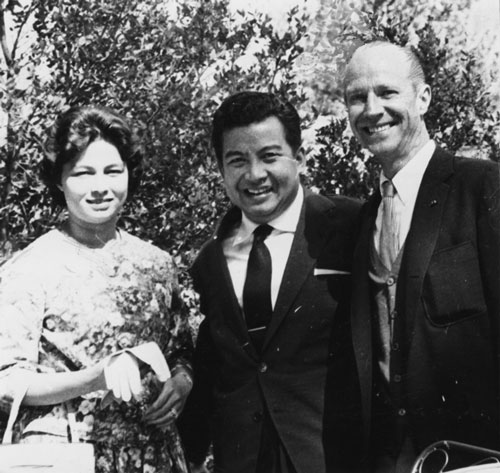 From left, Cambodian Princess Monique and Prince Norodon Sihanouk with Robert Balzer, owner of the Tirol Restaurant in Pine Cove, in October 1961 when the royals paid a visit to Idyllwild.Photo by Ernie Maxwell
