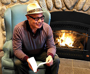 Author Eduardo Santiago of Idyllwild speaking to the Idyllwild Community Center Bookclub about this summer's Idyllwild Author Series on Jan. 30 at the Creekstone Inn. Photo courtesy Richard Barker