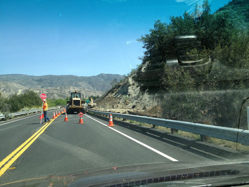 On Saturday, Skanska, of Los Angeles, a Caltrans contractor, was working on repairing Highway 74 just east of the Cranston Ranger Station. The work also includes stabilization of the slope along the highway.                 Photo by J.P. Crumrine