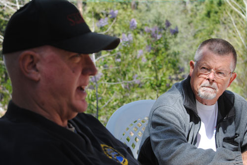 "Mike Terry, pipe major for the University of Riverside Pipe Band, and Piper Robert ""Robbie"" Conacher were in Idyllwild Saturday to participate in the planning of the band's Fourth of July activities here, including a concert and the parade.  Photo by J.P. Crumrine"