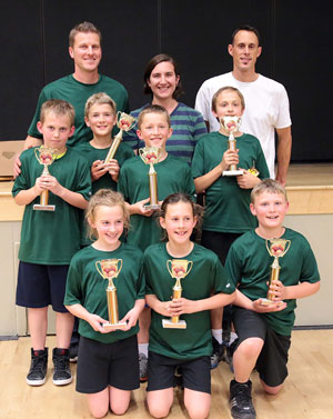 While it was a close game, the Celtics won the grades four to six championship game Friday night against the Lightnings. Celtics members (from left, back row) are Coaches Josh White, Justine D'Airrgo White and Jason Sonnier. In the middle row (from left) are Dylan Stewart, Ben Tiso, Joel White and Zack Gray. Kneeling in the front are Brook Taylor, Katelyn Sonnier and Joseph Tiso.Photo by Jenny Kirchner