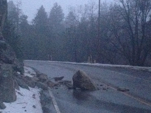 This nearly armchair-sized boulder blocked northbound traffic on Highway 243 just south of the entrance to Stonewood from about 5:45 to 7 p.m. Sunday evening, March 2. Local residents warned oncoming vehicles while Caltrans cleared the roadway.Photo by Jack Clark