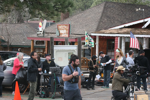 """""""Radio Mistletoe"""" was filmed in downtown Idyllwild last week. The crew is from Los Angeles and plans to release the film during the 2014 holiday season. Riverside County waived fees and offered transient occupancy tax refunds for crews filming in the county; many filmmakers are taking advantage of the new policy.                                                            Photo by Jay Pentrack"""