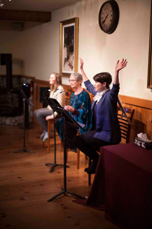 """ISIS Theatre Co. performed Lee Blessing's """"Eleemosynary,"""" at the Rainbow Inn last Friday. The cast included Michele Marsh, Meg Wolf, right, and Zora Schoner, left.  Photo by John Pacheco"""