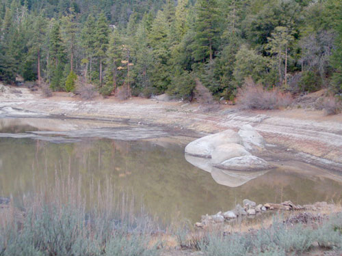 """Despite nearly 5 inches of rain last week, Idyllwild Water District's storage at Foster Lake remains nil. Said General Manager Tom Lynch, """"The water wasn't more than 6 inches to a foot deep, so the lake will probably be dry by the end of the week. Strawberry Creek is dry at our diversion level, so no water is running over to the lake.""""Photo by Tom Lynch"""