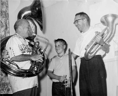 From left, Cecil Tozier, Jimmy McCaghgren and Idyllwild School Principal Lee Lybarger in 1961 when the school band was started.File photo