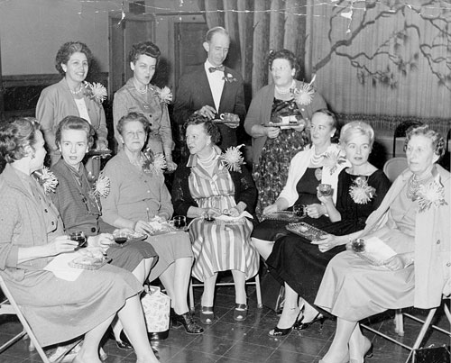Past presidents of Idyllwild PTA gathered on Founders Day for tea in 1962 at Town Hall. Back row, from left, Claudie Covert, Cay Long, Al Carothers and Mildred Matthews. Front row, from left, Rita Patton, Ade Morlan, Coral Belden, Gladys Humphreys, Gladys Bischof, Virginia Gray and Mable Morris.File Photo