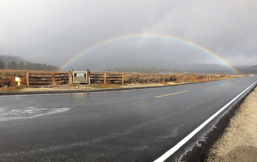 Commuters and residents were treated to a rainbow over Lake Hemet on Thursday morning after heavy night rains soaked Garner Valley. Photo by Halie Johnson