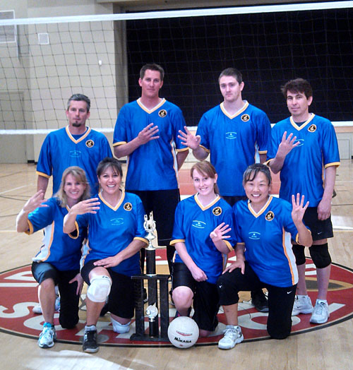 Above, Idyllwild Garage is the Town Hall Adult Coed  Volleyball champion. Back row, from left, Brennen Priefer, Kyle Owen, Cory Sumrall and Freddie Espinoza. Front row, from left, Kirsten Torrez, Maria Loutzenhiser, Kassie Ray and Janey Espinoza. Not shown are Art Torrez and Robert Haft.  Photo courtesy Ginger Dagnall