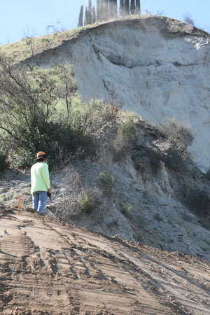 At right, a Caltrans geologist observes the side of the hill crumbling near Highway 74.  Photo by Jay Pentrack