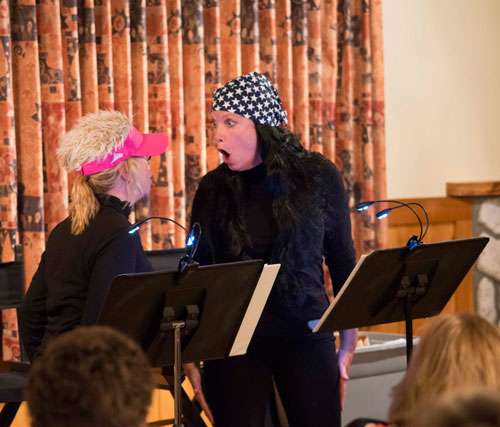 """Isis Theatre Co.'s Suzanne Avalon (left) and Jeri Greene performing """"Parallel Lives"""" by Kathy Najimy and Mo Gaffney. The show was performed at the Rainbow Inn last Friday for Isis' First Friday series. Photo by  John Pacheco"""