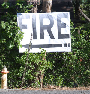 Large signs were placed around town to direct engines to the location of the drill. Photo by J.P. Crumrine.