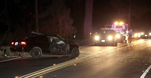 At right, A two-car collision just north of Mountain Center Saturday night, May 3, killed Ron Barney, 25, and sent Hiroko Momii, 67, of Idyllwild to the hospital with multiple injuries.