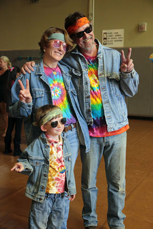 Heidi, Todd and Quintin Hoggan, 5, show off their hippy styles during Blast to the Past Friday at Idyllwild School.  Photo by Jenny Kirchner