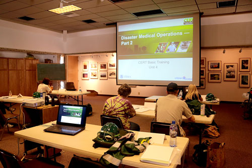 The CERT team had training at the Idyllwild Nature Center Saturday and Sunday. Riverside County Fire was showing a presentation and also helped perform practical exercises to prepare if a large disaster occurred. Photo by Jenny Kirchner