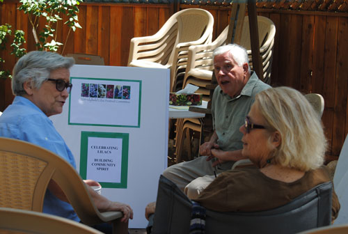 Members of the Lilac Festival Committee discuss plans for the first festival in May 2015. The session was at Gary Parton's Alpenglow Gardens, among the attendees were Toni Berthelotte (left), Parton and Dianne Johnson. Photo by J.P. Crumrine