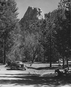 "A closer view of Lily or Tahquitz Rock, about a mile below the take-off point at Humber Park in April 1954. Seen from any point in the valley, the rock was often called the ""Monk of Tahquitz."" Photo by Ernie Maxwell, File photo"