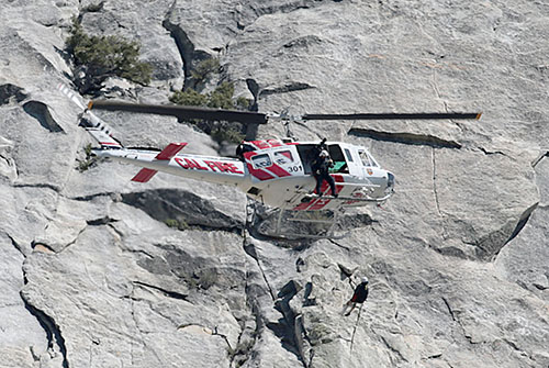 According to a Riverside County Fire press release, a 46-year-old male sustained moderate injuries, including a fractured left leg, after falling about 50 feet while rock climbing at about 2 p.m. Monday. The patient was airlifted by Cal Fire Helicopter 301 to Keenwild Forest Service Station where he was then transported by American Medical Response to a nearby hospital. Riverside County Fire, Idyllwild Fire, Idyllwild Volunteer Fire Company 621, the U.S. Forest Service and AMR were all part of the rescue efforts. Photo by Jenny Kirchner