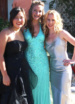 (From left) Kyra Espinoza, Danielle Simmons, and Allison Hitchcock were members of the Daisy Chain, who honored and escorted the 2014 Hemet High School graduates to their ceremony, Wednesday, May 28. Daisy chain links are the current top 26 academically performing students in the junior class, future 2015 graduates.  Photo courtesy of Janey Espinoza