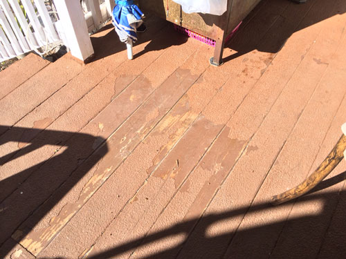 Sonny Swerkes' deck began peeling after application of a deck-coating product. Photo by Marshall Smith