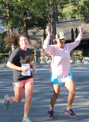 Hayleigh Kirkham and Diana Kirkham  are happy as they finish the Idyllwild 5K Race Saturday. Photo by Brennen Priefer